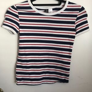 H&M RED WHITE & BLUE STRIPED TEE